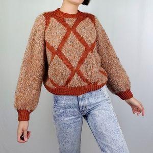 Handmade diamond knit sweater